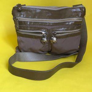 Tan Brighton leather/textile crossbody bag